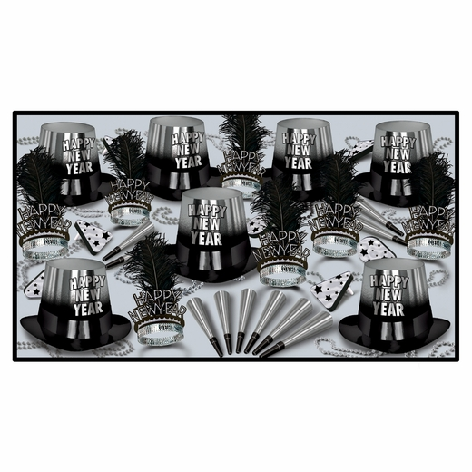 Silver Entertainer New Years Eve Party Kit For 50