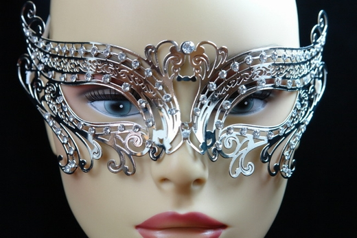 Silver Metal Venetian Birds Eye Mask