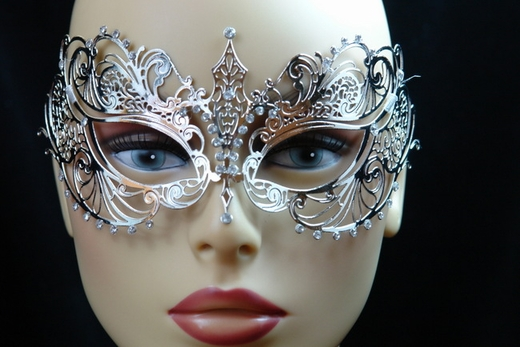 Silver Metal Venetian Mask With Gems