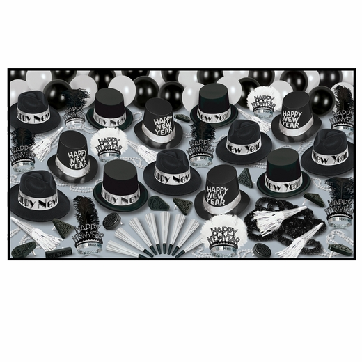 Grand Deluxe Silver New Years Eve Party Kit-50