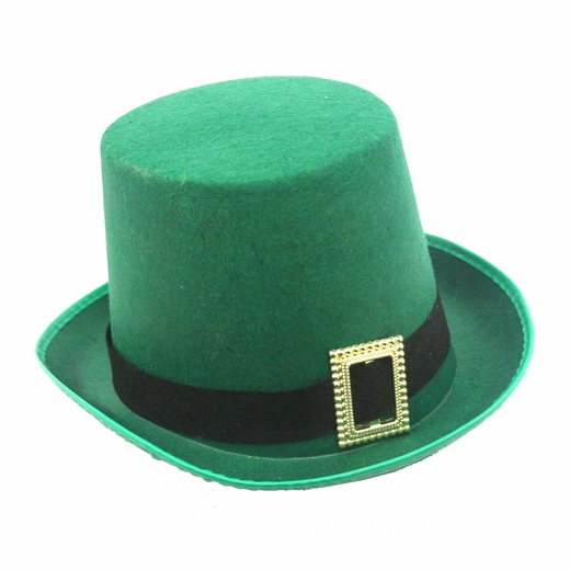 Green Felt Top Hat With Buckle