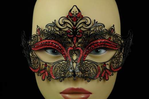 Black With Red Accent Metal Venetian Half Mask