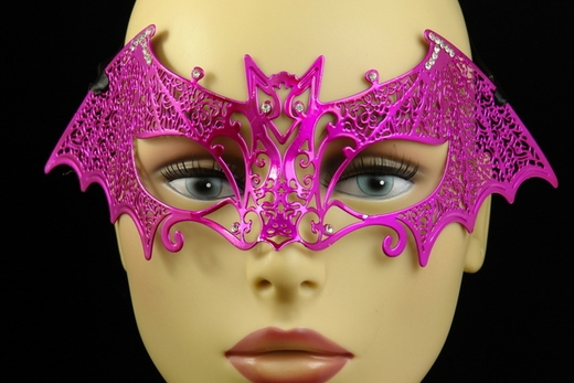 Hot Pink Metal Venetian Bat Mask