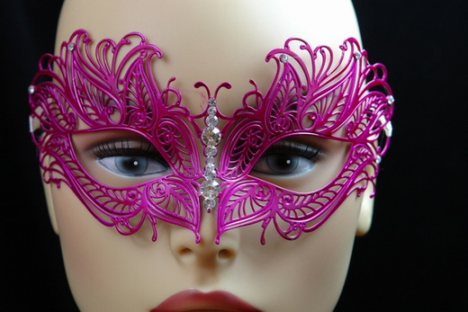 Hot Pink Metal Venetian Mask With Jewel Nose