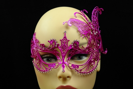 Hot Pink Metal Venetian Mask With Side Butterfly