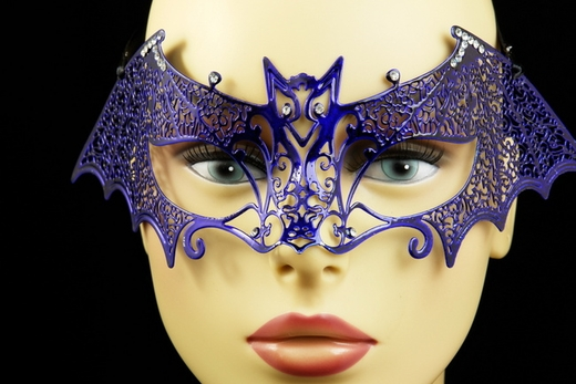 Blue Metal Venetian Bat Mask