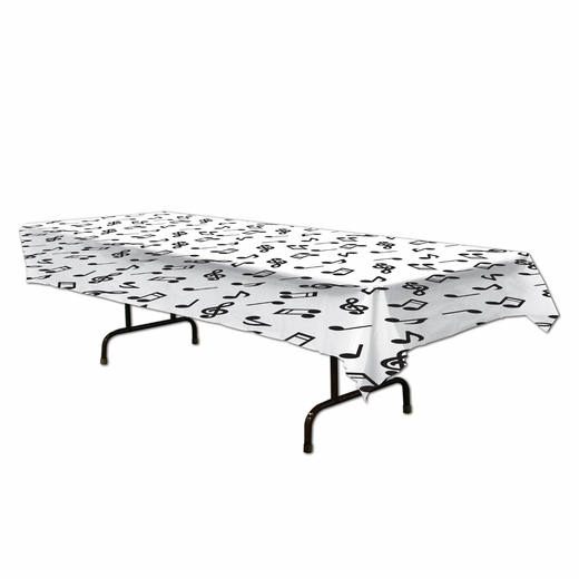 Music Notes Plastic Table Cover - Rectangle