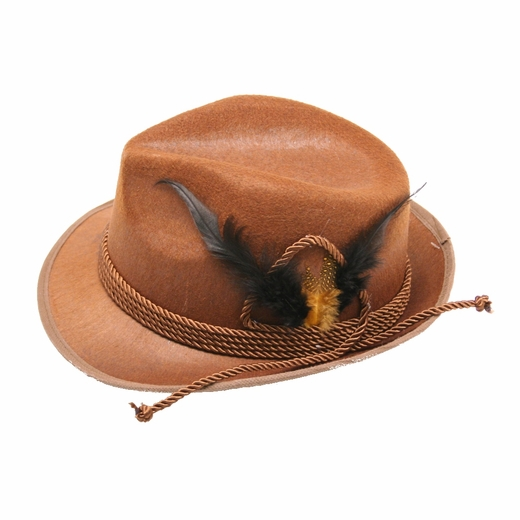 Brown Tyrolean Oktoberfest Hat