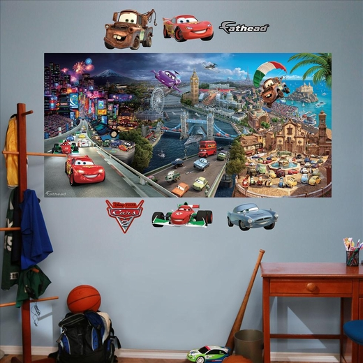 Cars 2 mural fathead for Disney cars wall mural
