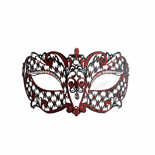 Venetian Black With Red Accent Metal Mask