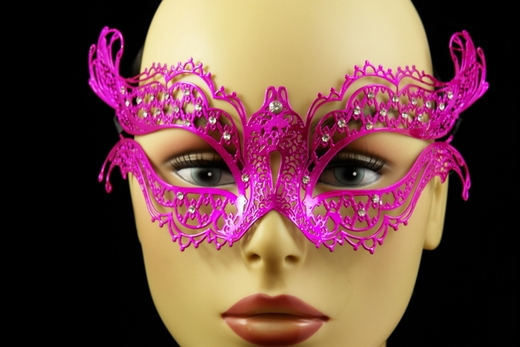 Venetian Decorative Hot Pink Metal Mask