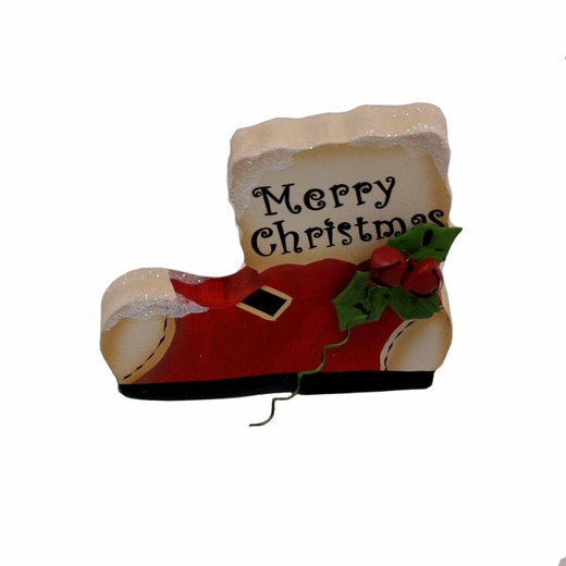 5 Inch Wooden Christmas Decoration Santa Boot