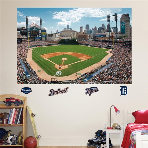 Detroit tigers comerica park stadium mural fathead for Comerica park wall mural