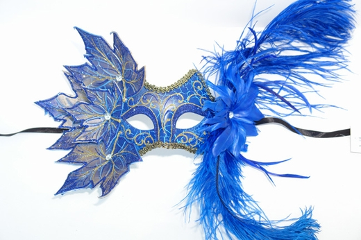 Blue Decorated Half Mask With Leaves And Feathers