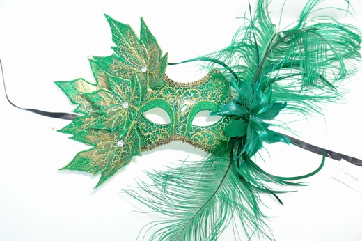 Green Decorated Half Mask With Leaves And Feathers