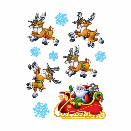 Santa's Sleigh And Reindeer Window Clings