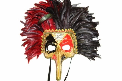 Long Nose Venetian Mask With Black And Red Feathers