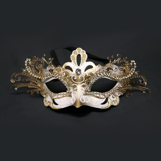 White And Gold Decorative Metal Venetian Half Mask