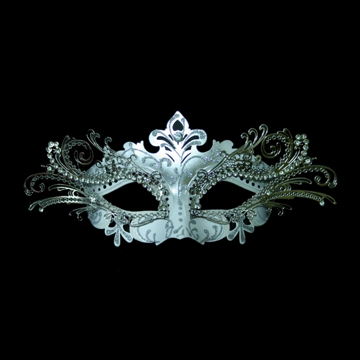 White And Silver Decorative Metal Venetian Mask