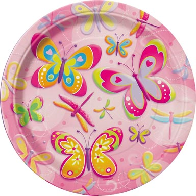 Butterflies And Dragonflies Paper Plates - 7""