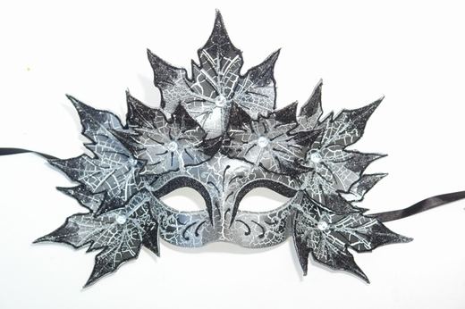 Silver Venetian Decorative Leaves Half Mask