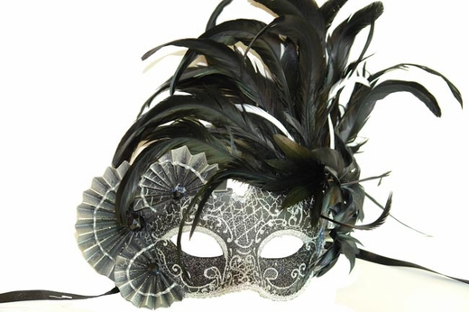 Black And Silver Feathers And Fans Masquerade Mask