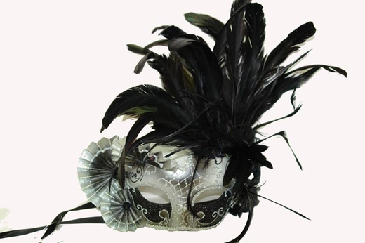 Black And Silver Half Mask With Fans And Feathers
