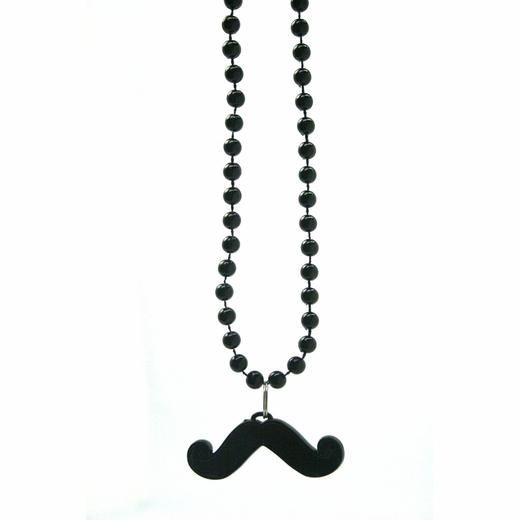 Black Bead Necklace With Mustache Pendant