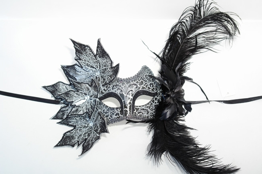 Black Decorated Half Mask With Leaves And Feathers