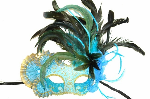 Sky Blue Feathers And Fans Masquerade Mask