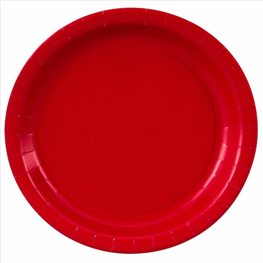 """Red Paper Plates - 7"""""""