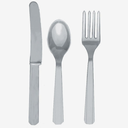 Silver Fork Knife And Spoon Set