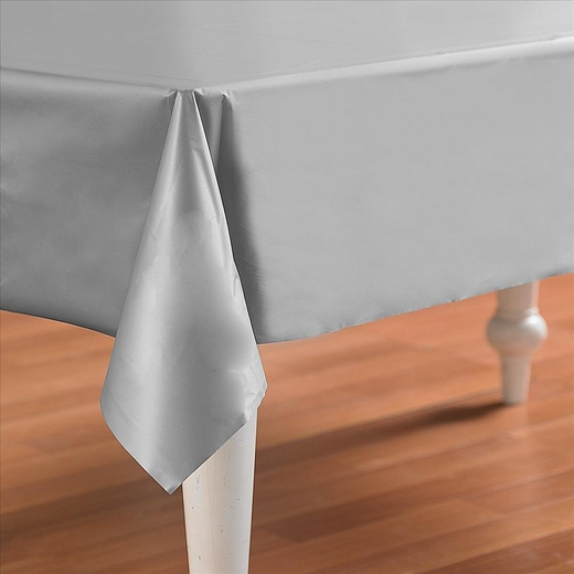 Silver Plastic Table Cover - Rectangle