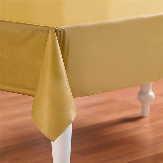 Gold Plastic Table Cover - Rectangle
