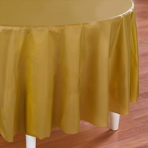 Gold Plastic Table Cover - Round