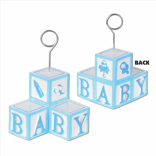 Baby Blocks Boy Photo Holder Balloon Weight