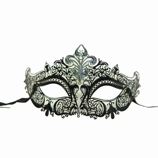 Black Metal Venetian Half Mask