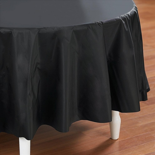 Black Plastic Table Cover - Round