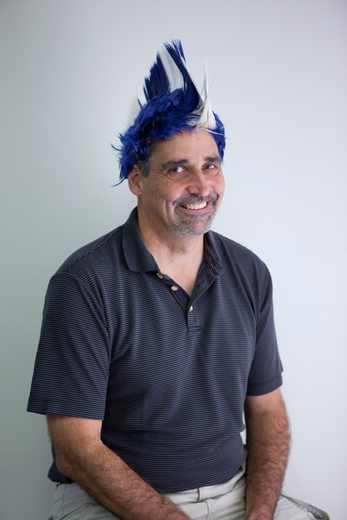 Blue And White Mohawk Wig