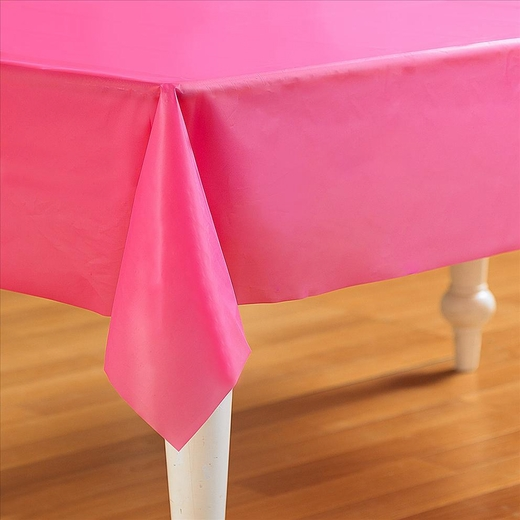Hot Pink Plastic Table Cover - Rectangle