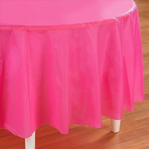 Hot Pink Plastic Table Cover - Round