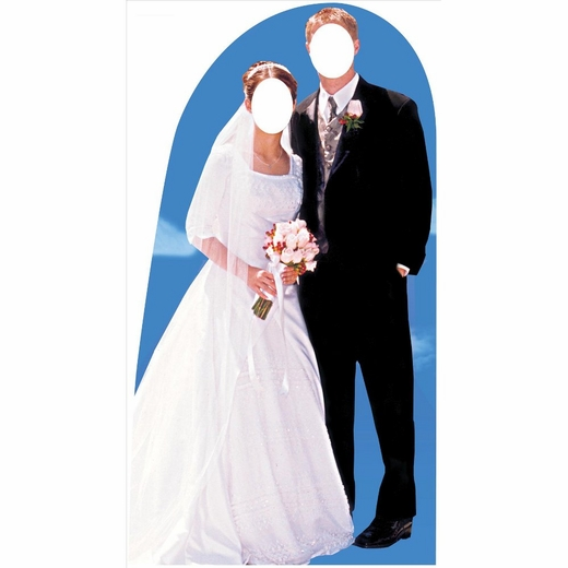 Bride And Groom Stand In Lifesized Standup