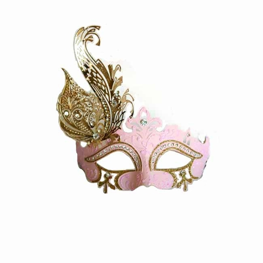 Venetian Pink Half Mask With Metal Feathers
