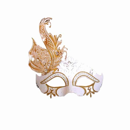 Venetian White Mask With Metal Feathers