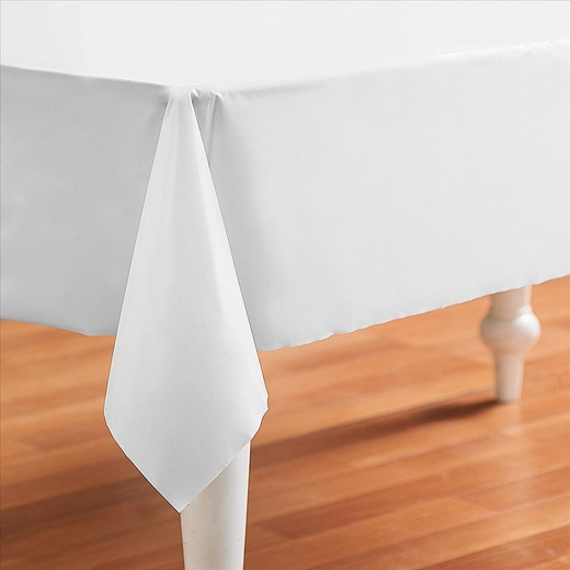 White Plastic Table Cover - Rectangle