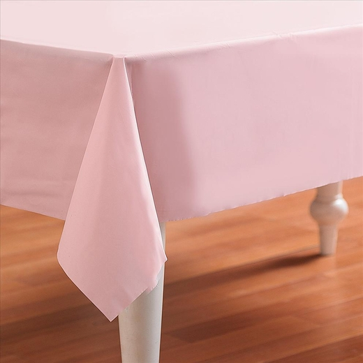 Pink Plastic Table Cover - Rectangle