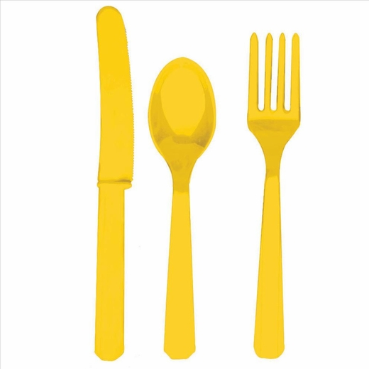 Yellow Fork Knife And Spoon Set-Plastic