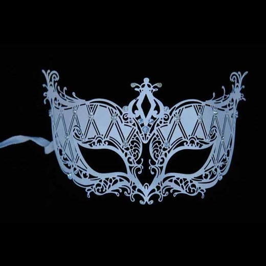 Decorative White Metal Venetian Half Mask
