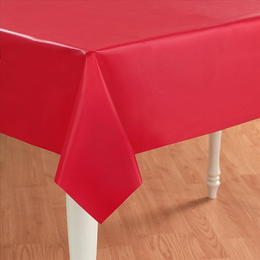 Red Plastic Table Cover - Rectangle