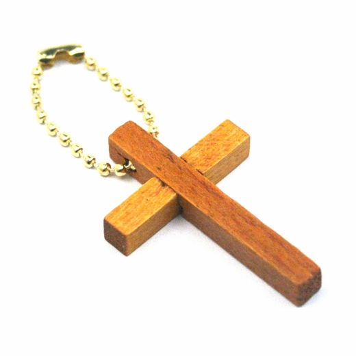 Wooden Cross Keychains